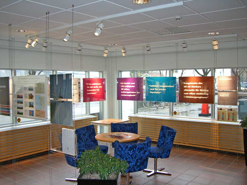 Floor to ceiling suspended poster displays