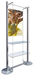A1 Poster Display with 2 Glass Shelves
