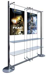 A1 Poster Display with 4 Glass Shelves